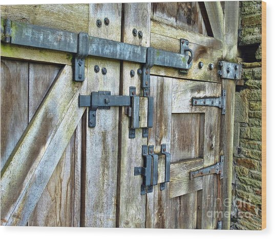 Doors At Caerphilly Castle Wood Print