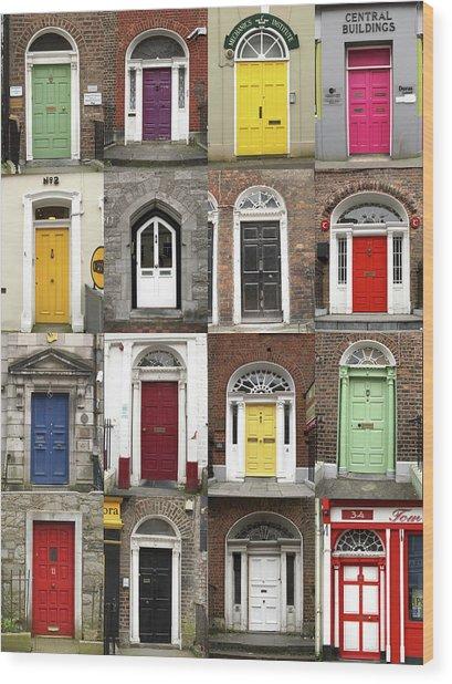 Doors Of Limerick Wood Print