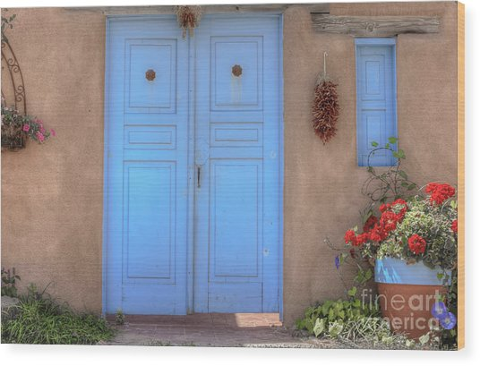 Doors, Peppers And Flowers. Wood Print