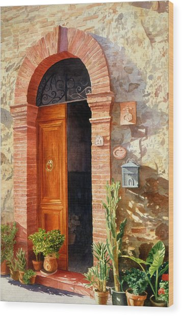 Wood Print featuring the painting Doorway In Tuscany Number 2 by Bob Nolin