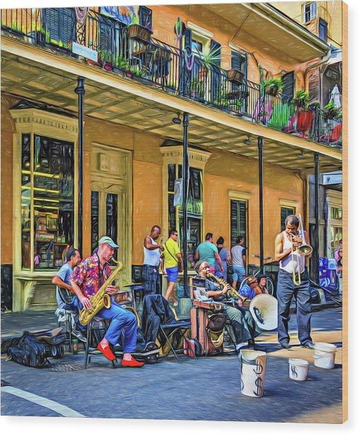 Doreen's Jazz New Orleans 2 - Paint Wood Print
