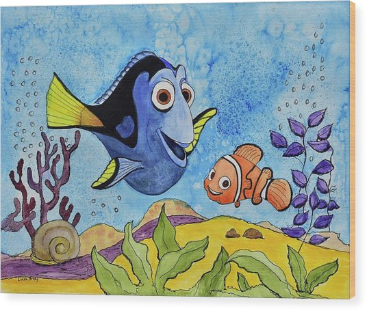 Dori And Nemo Wood Print