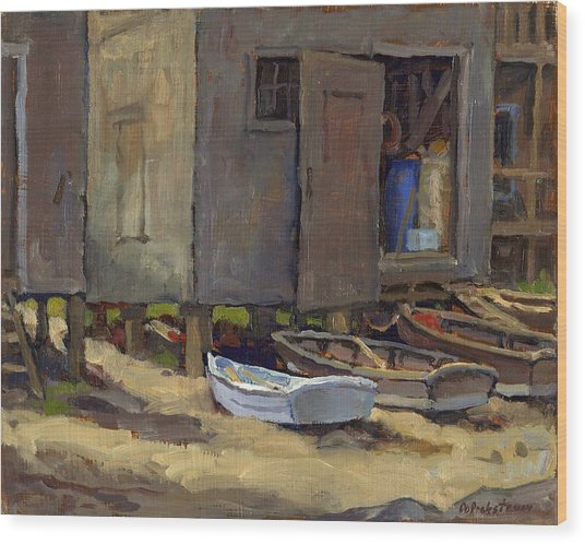 Dories On Fish Beach Wood Print