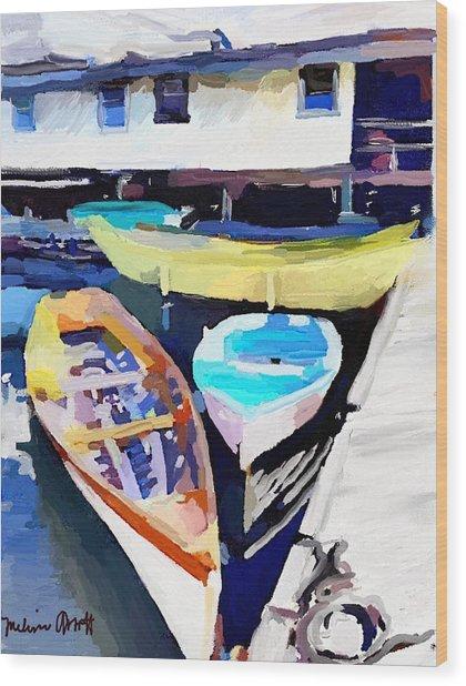 Dory Dock At Beacon Marine Basin - East Gloucester, Ma Wood Print
