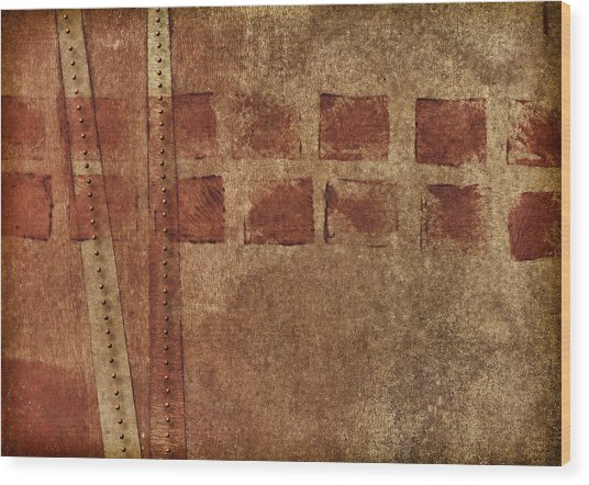 Dotted Squares Mixed Media 1 Wood Print