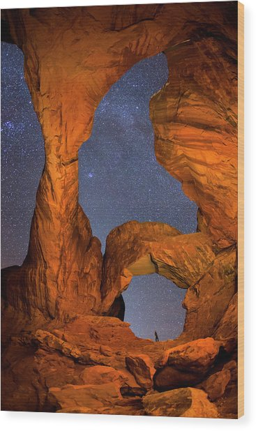 Double Arch At Night Wood Print