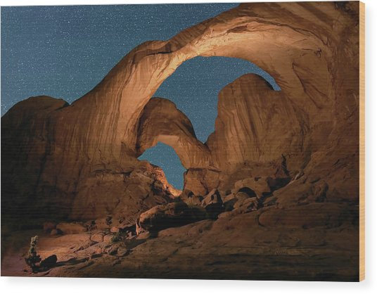 Double Arch And The Milky Way - Arches National Park - Moab, Utah By Olena Art - Brand  Wood Print