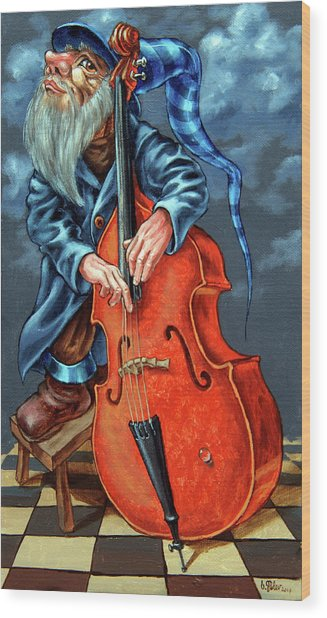 Double Bass And Bench Wood Print