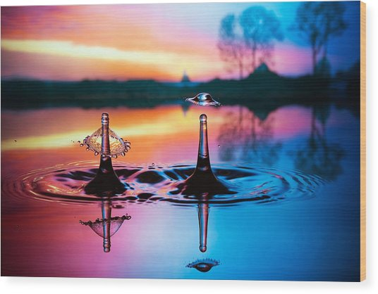 Double Liquid Art Wood Print
