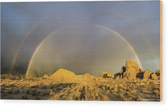 Double Rainbow Gold Wood Print
