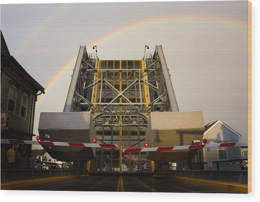Double Rainbow Mystic Drawbridge Wood Print