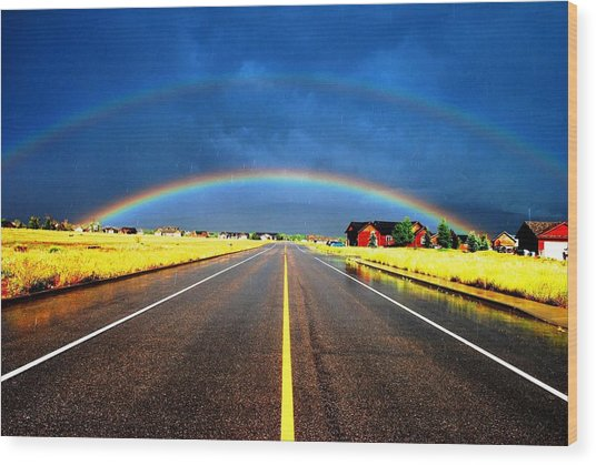 Double Rainbow Over A Road Wood Print