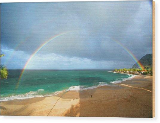 Double Rainbow Over Turtle Beach Wood Print