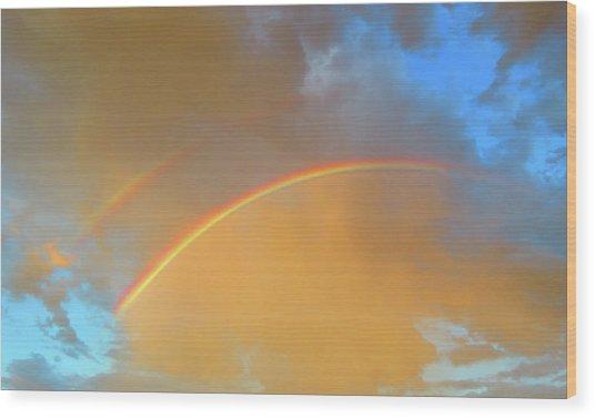 Double Rainbows In The Desert Wood Print