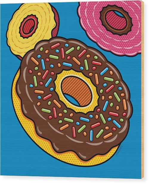 Doughnuts On Blue Wood Print