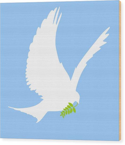 Dove And Olive Branch Wood Print
