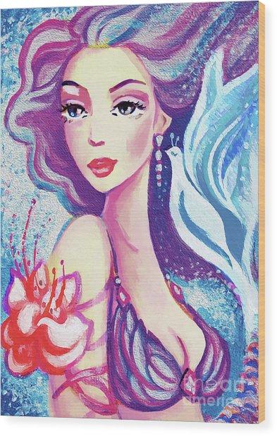 Dove Mermaid Wood Print