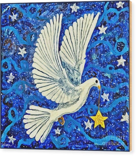 Dove With Star Wood Print