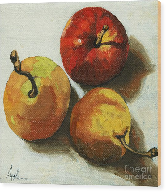 Down On Fruit - Pears And Apple Still Life Wood Print