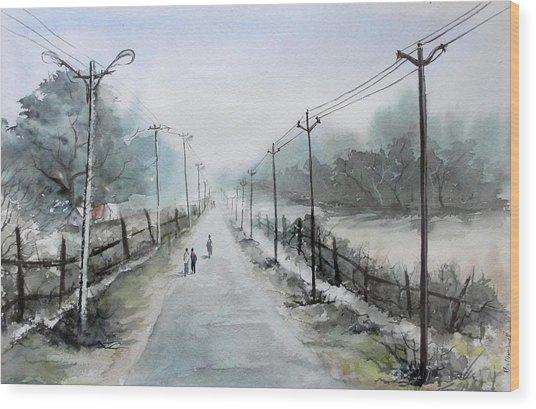 Down The Lane Wood Print