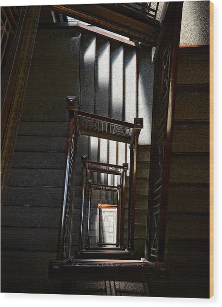 Down The Stairs Wood Print