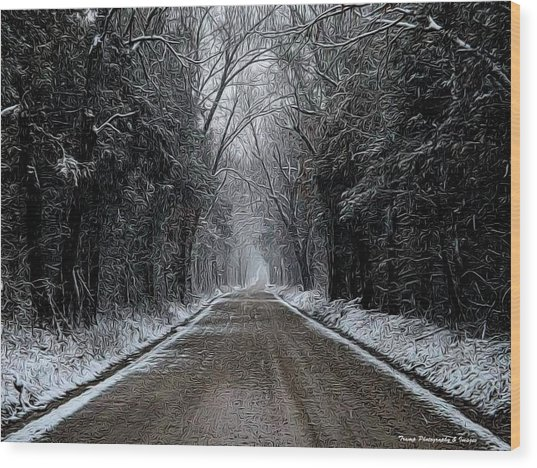 Down The Winter Road Wood Print