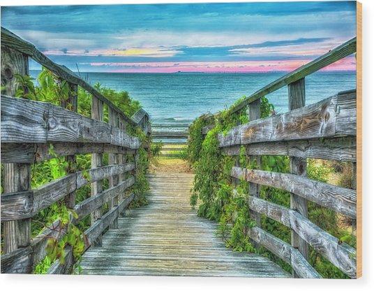 Down To The Beach Wood Print
