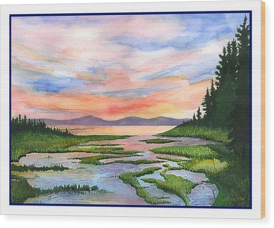 Downeast Sundown Wood Print by Ernestine Grindal
