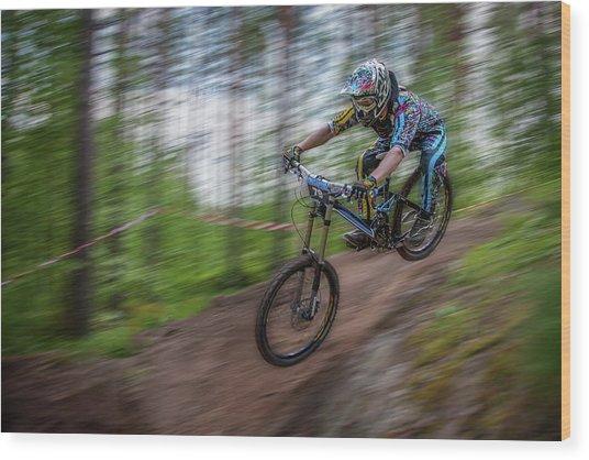 Downhill Race Wood Print