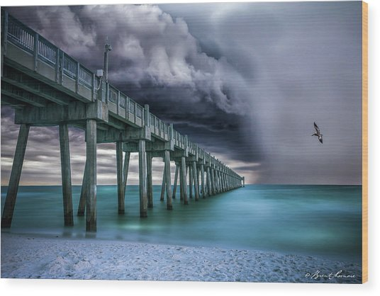 Downpour- Pensacola Beach Wood Print by Brent Shavnore