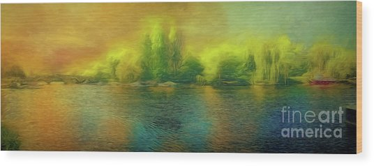 Downriver Glow Wood Print