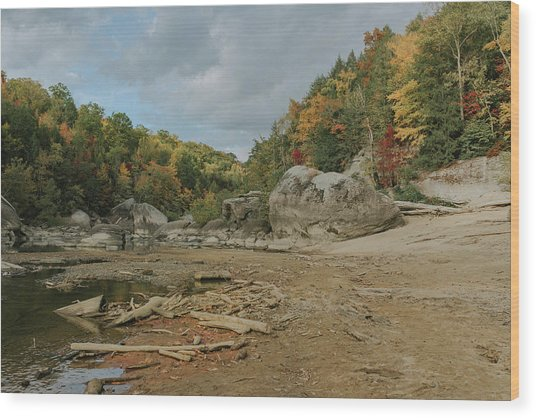 Downstream From Cumberland Falls Wood Print