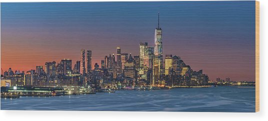 Downtown And Freedom Tower Wood Print