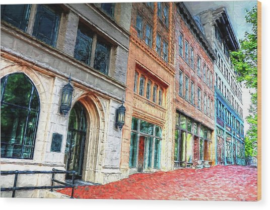 Downtown Asheville City Street Scene II Painted Wood Print