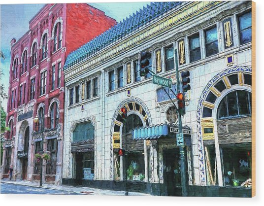 Downtown Asheville City Street Scene Painted  Wood Print