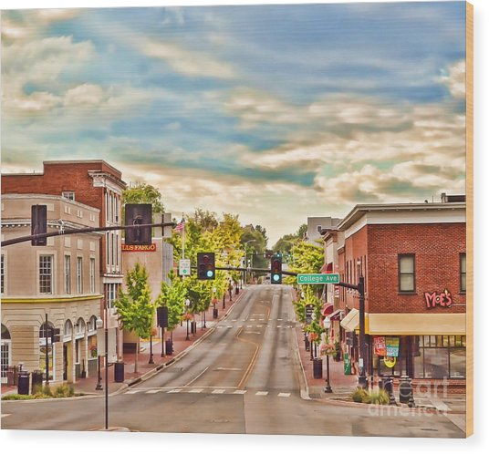 Downtown Blacksburg Wood Print
