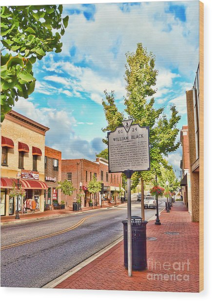 Downtown Blacksburg With Historical Marker Wood Print