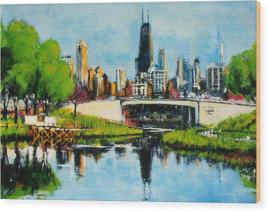 Downtown Chicago From Lincoln Park Wood Print