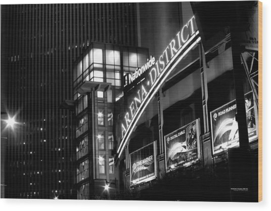 Wood Print featuring the photograph Downtown Columbus Bw1734 by Brian Gryphon