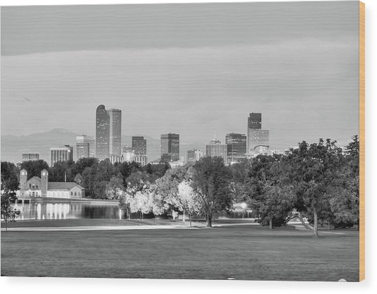 Downtown Denver Skyline - Black And White Wood Print