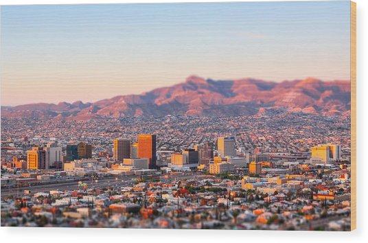 Downtown El Paso Sunrise Wood Print