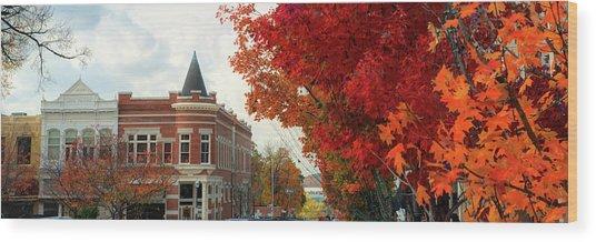 Downtown Fayetteville Arkansas Autumn Skyline Panorama Wood Print