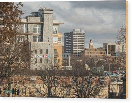 Downtown Fayetteville Arkansas Skyline - Dickson Street Wood Print