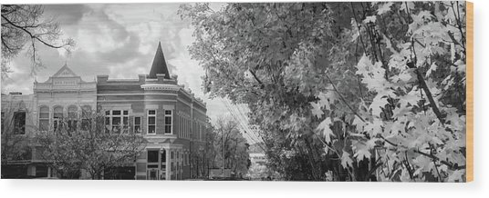 Downtown Fayetteville Arkansas Skyline Panorama - Black And White Wood Print