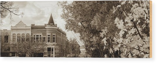 Downtown Fayetteville Arkansas Skyline Panorama - Sepia Wood Print