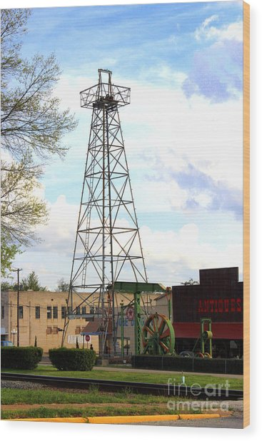Downtown Gladewater Oil Derrick Wood Print