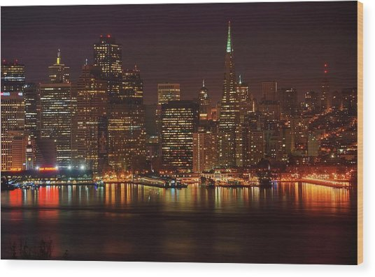 Downtown Gotham City Wood Print