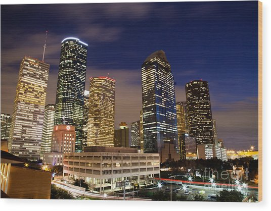 Downtown Houston At Night Wood Print