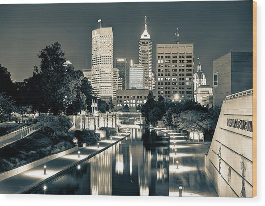 Downtown Indianapolis Indiana Skyline In Sepia Wood Print