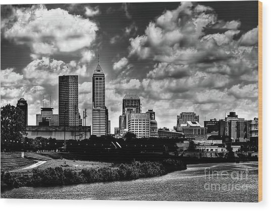 Downtown Indianapolis Skyline Black And White Wood Print